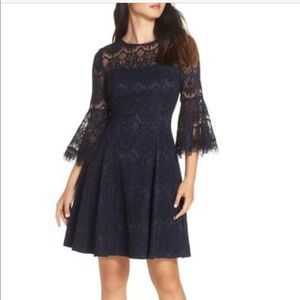 Eliza J lace bell sleeve fit and flare dress